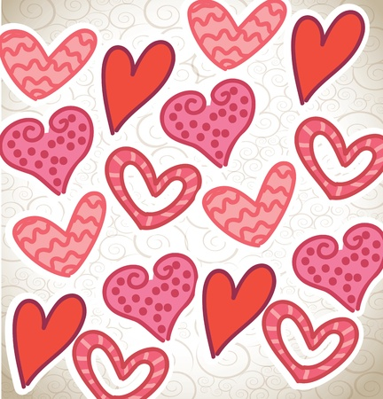 Love background with pink and red hearts vector illustration Stock Vector - 17428086