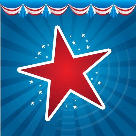 American stars over blue background vector illustration Vector