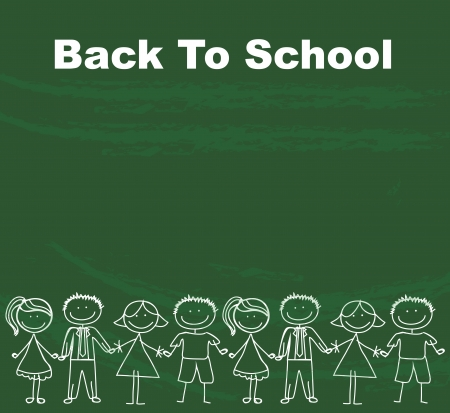 Children drawing over green background back to school Stock Vector - 17428095