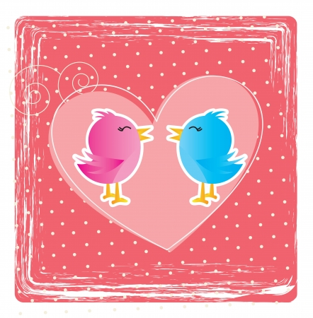 Love card with a couple of birds over pink background Stock Vector - 17427929