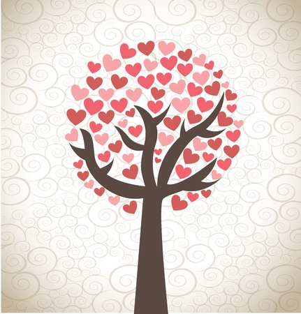 Love tree over background  vector illustration Stock Vector - 17427975