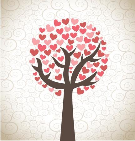Love tree over background  vector illustration Stock Vector - 17427975