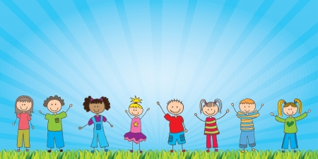 kids drawing: happy childrens over natural background vector illustration Illustration