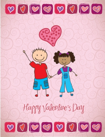 love card with two happy childrens vector illustration Stock Vector - 17428334