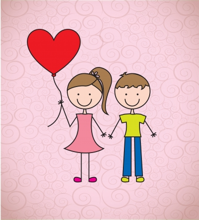amour: love card with childrens to celebrate valentines day vector illustration  Illustration