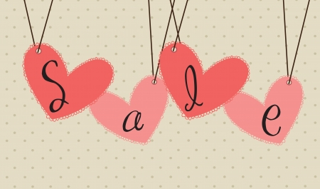 offer of love with some hanging hearts vector illustration Stock Vector - 17427557