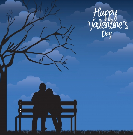 nigth: Card love with a couple in the nigth over sky background