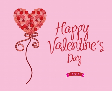 Happy valentines day over pink background vector illustration Stock Vector - 17427934