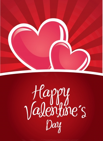 Happy valentines day card over red background Stock Vector - 17427922