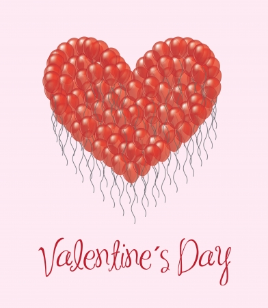 Valentines day card with balloons over white background Stock Vector - 17428380