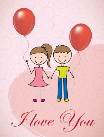 Two childrens with balloons love over pink background Stock Vector - 17428357
