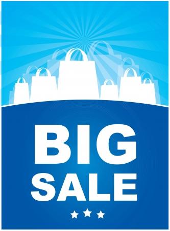 annoucement: Big sale annoucement ove blue background