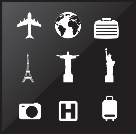travel icons over black background vector illustration Stock Vector - 17427964