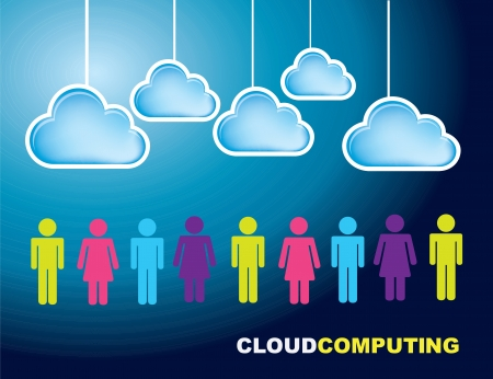 Business people with cloud over blue background Stock Vector - 17427779