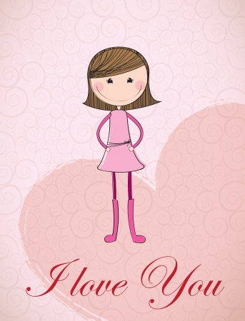 I love you card over pink background vector illustration Stock Vector - 17428339
