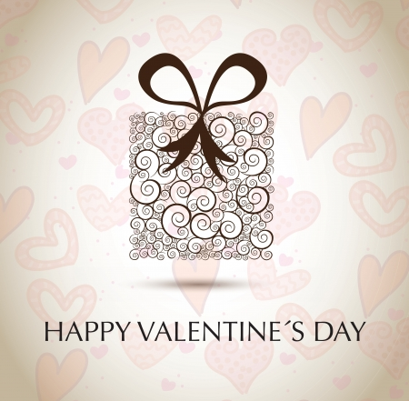 Valentinees day gift over hearts background vector illustration Stock Vector - 17428372