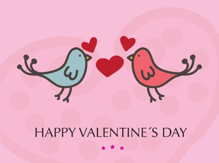 Valentines day card with a couple kissing bird vector illustration Stock Vector - 17427760