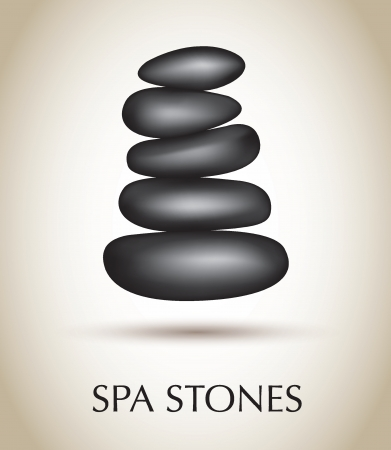 massage stones: Black stones spa over white background vector illustration