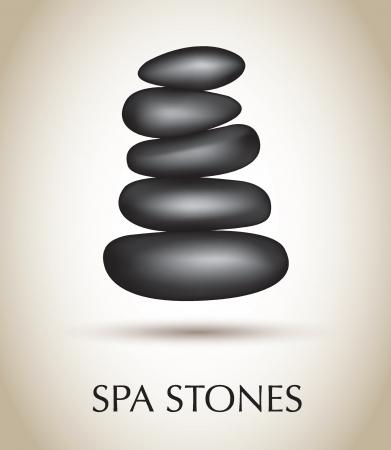 stein schwarz: Schwarze Steine ??Spa auf wei�em Hintergrund Vektor-Illustration Illustration