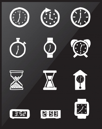 Clock icons over black background vector illustration Vector