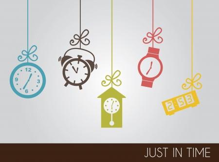 orologio da parete: Icone orologio d'epoca oltre grigio illustrazione vettoriale sfondo Vettoriali