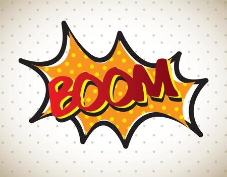 g�lle: Boom Comic �ber Vintage Hintergrund Vektor-Illustration
