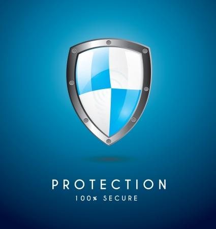 protected database: Protecci�n icono sobre fondo azul ilustraci�n vectorial