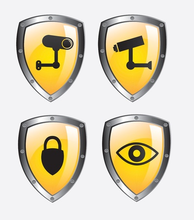 monitored: Security icons over white background vector illustration