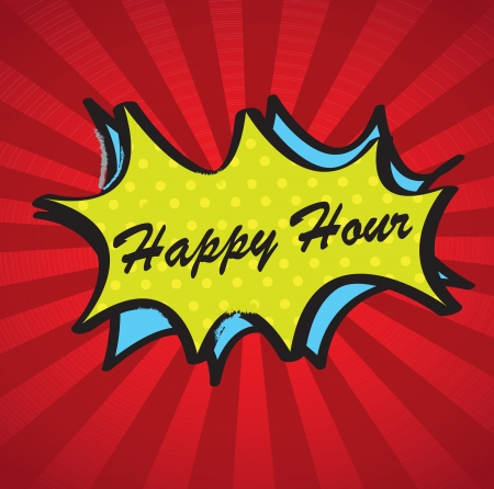 happy hour: Happy hour over boom background vector illustration
