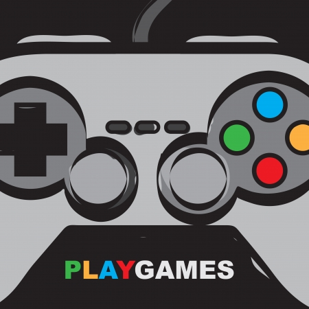 controllers: Play games over control background vector illustration Illustration