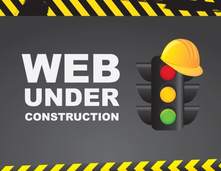 Web under construction over caution background  Vector