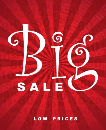 Big sale over red background with lines vector illustration Vector