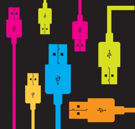 Usb colors over black background vector illustration