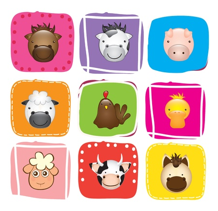 Different Animals over colors background vector illustration.  Vector