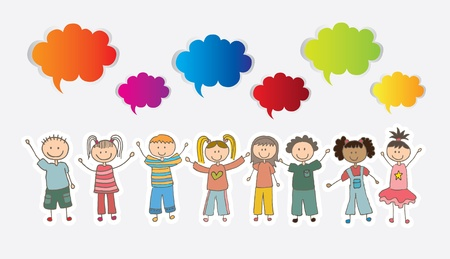 Children over white background with colors cloud vector illustration Ilustração