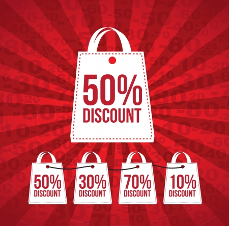 bargain sale: Discount over red and lines background vector illustration