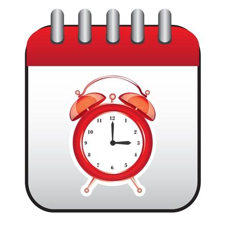 big timer: Clock and calendar over white background vector illustration Illustration