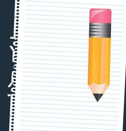 comix: Paper and pencil over black background vector illustration