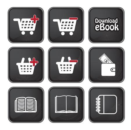 testigo: Ebook Bot�n de descarga y los iconos de comprar m�s negro ilustraci�n vectorial de fondo Vectores