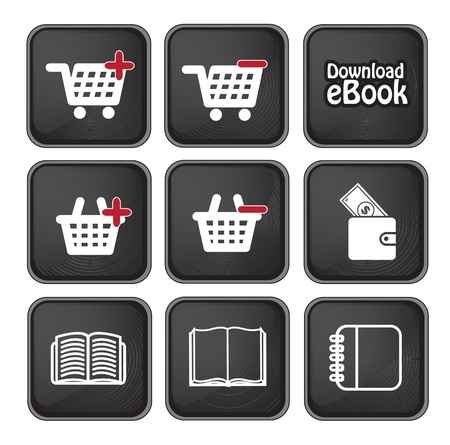 elettronic: Ebook download button and buy icons over black background vector illustration
