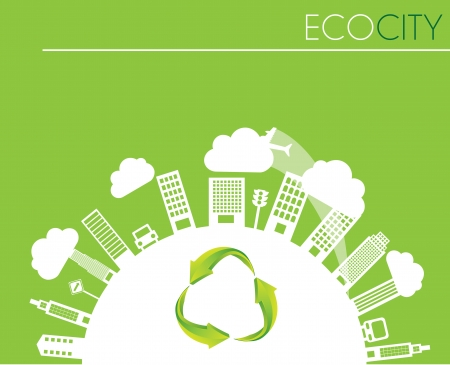 Eco city with eco building in ther world over green background Vector
