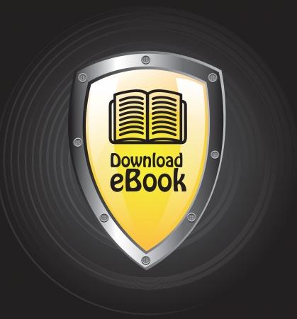 Ebook download button over black background vector illustration Stock Vector - 17427742