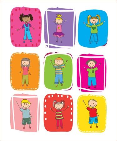 bimbi che giocano: Bambini felici oltre illustrazione vettoriale colori quadrato Vettoriali
