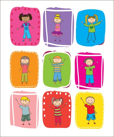 animated boy: Happy children over colors square vector illustration