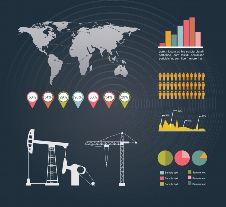 Infographics of industry over black background vector illustration Vector