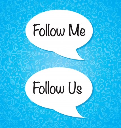 Follow me and follow us over blue background vector illustration Vector