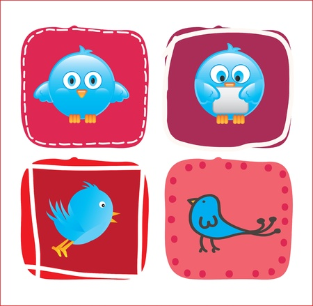 Different birds over pink square over white background Stock Vector - 17427658