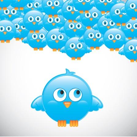me: Birds over white background vector illustration Follow me