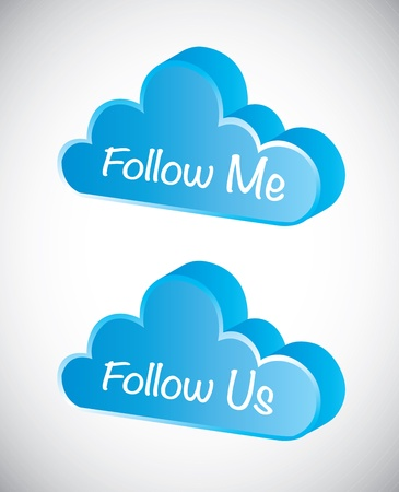 Follow me over cloud background vector illustration Stock Vector - 17427314