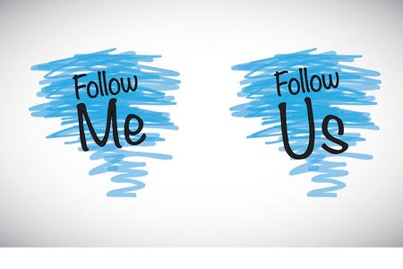 follow me and follow us over signs marker lines Vector